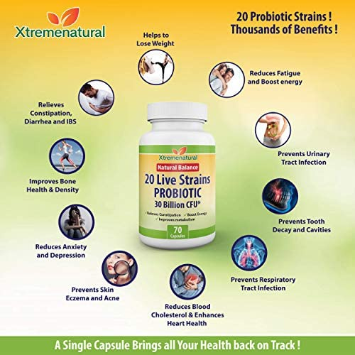 Xtremebiotic Probiotic -20 Strains - 30 Billion CFU - 70 Capsules - for Weight loss - Constipation - Regular Bowel Movement - Fatigue - Immune System Health - Beyond 2 Months Supply 6