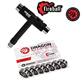 Fireball Dragon Precision Bearings for Skateboards, Longboards, Inline Skates, Roller Skates, Spinners (608 Bearing) (Endure 8-Pack w/T-Tool)
