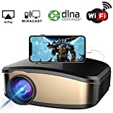 WiFi Projector, iBosi Cheng Portable Mini LCD Video Projector Full HD 1080P LED Home Theater Projector with HDMI/USB/ VGA/AV Input for Smartphones PC Laptop Gaming Devices