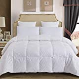 Decroom 100% Cotton Quilted Down Comforter with White Goose Duck Down Feather Filling-Lightweight and Hypoallergenic Duvet Insert- King