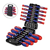 WORKPRO 45-Piece Magnetic Screwdriver Set - Precision, Slotted & Phillips Screwdriver Kit Includes Bits, Sockets & Folding Rack - Magnetic Tip Keeps Bits Secure - Premium Tool Set