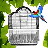 Gosear Bird Cage Skirt, Soft Ventilated Mesh Pet Bird Cage Seed Catcher Guard Cover Shell Skirt Decoration 55-95 Inch Length White