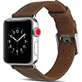 Camyse Compatible Apple Watch Band, 42mm 44mm Genuine Leather iwatch Strap Replacement Band Stainless Metal Clasp Apple Watch Series 4 & 3 & 2 & 1 Sport Edition - Dark Brown
