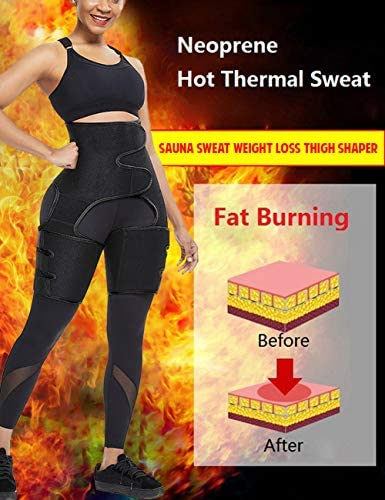 FeelinGirl Neoprene Sweat Waist Trainer and Thigh Trimmer Butt Lifter High Waist Thigh Slimmer Workout Body Belts Fitness 2