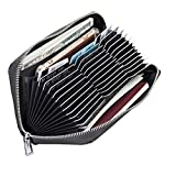 Women Credit Card Wallet, TEOYALL 36 Card Slots Genuine Leather RFID Blocking Card Holder (Black)