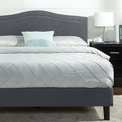 Zinus Anne Upholstered Detail Stitched Scalloped Platform Bed / Mattress Foundation / Easy Assembly / Strong Wood Slat…