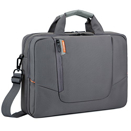 BRINCH 15.6 inch New Soft Nylon Waterproof Laptop Computer Case Cover Sleeve Shoulder Strap Bag with Side Pockets Handles and Detachable for MacBook Pro 15 inch Asus/DELL/HP/Samsung,Colour Grey