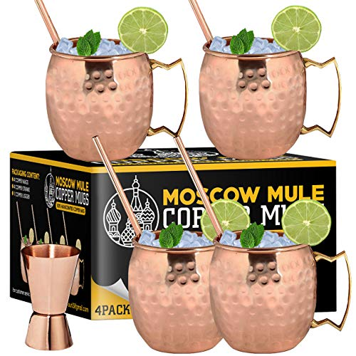 Moscow Mule Copper Mugs - Set of 4-100% HANDCRAFTED - Food Safe Pure Solid Copper Mugs - 16 oz Gift Set with BONUS: Highest Quality Cocktail Copper Straws and Jigger! (Copper)