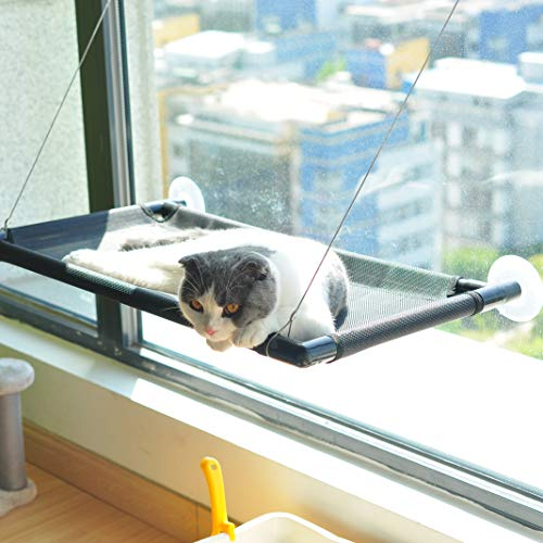 Pakeway Cat Window Perch Hammock Cat Bed with Upgraded Version 4 Suction Cups, Safest Cat Bed for Large Cat can Holds Up to 50lbs (Black) 3