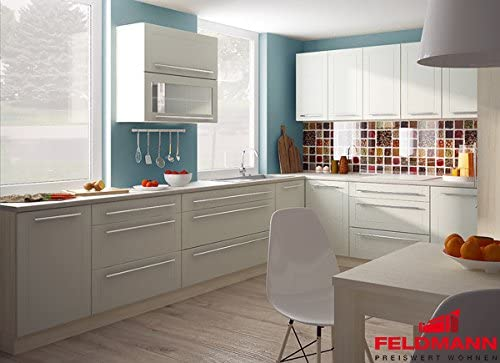 L Shaped Kitchen Island 270 X 180 Cm 16897 Jersey Vanilla Matt Amazon Co Uk Kitchen Home