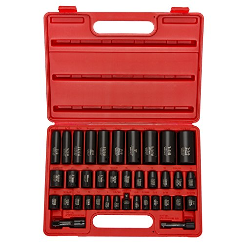 Neiko 02443A Complete Impact Socket Set, 38 Piece, CR-V Steel, 6-Point, SAE & Metric, Deep & Shallow, 3/8' and 1/2' Drive