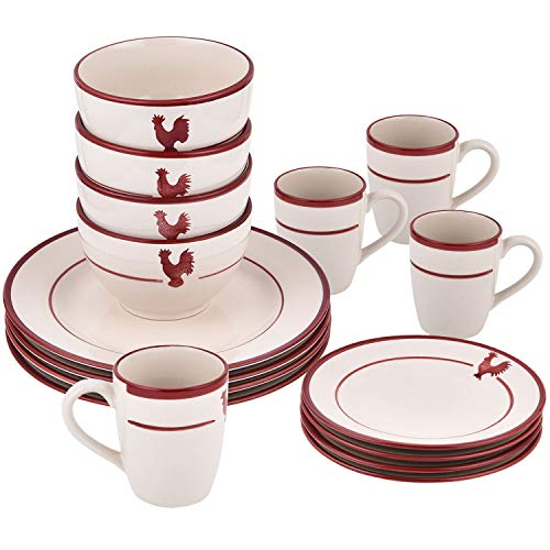 16-Piece Dishes Dinnerware Sets, Red Stripe Round Ceramic Dinnerware Set, Porcelain Dinnerware Sets Including Dinner Plates Dessert Plates Fruit Bowls and Mugs for Everyday Use, Service for 4
