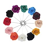 TopTie Flower Lapel Pin Rose for Wedding, 12 Pcs Assorted Color-set1