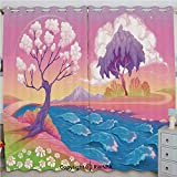 Justin Harve window Astral Landscape with Fictional Fantasy Trees and River Waves Daisy Magical Picture Grommet Top Blackout Curtains Set of 2 Panels(100'x 84' Multi
