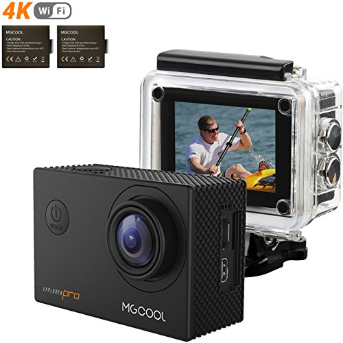 MGcool PRO2 4K Touchscreen Action Camera, 16MP Ultra HD Waterproof Sony Sensor Sport Action Cam Camcorder with 170° Wide-angle Lens and 2 Batteries, Christmas Gifts (Portable Bag + Mini Tripod) (PRO)