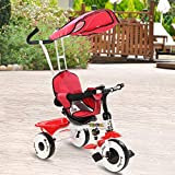 Costzon Kids Trike, 4-in-1 Kids Steer Tricycle Stroller Bike w/Canopy Basket (Single Tricycle, Red)