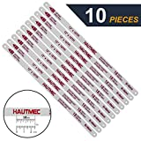 HAUTMEC Hacksaw Replacement Blades BI-METAL (10 Pack) High Speed Steel Grounded Teeth 18 TPI x 12' Length 0.025' Thick x 1/2' Width HT0016-CT
