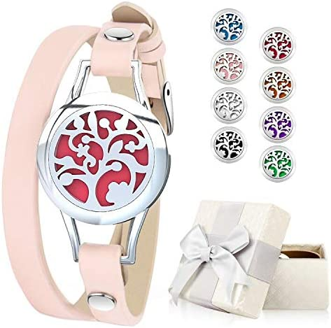 Essential Oil Diffuser Bracelet, Aromatherapy Bracelet Jewelry Stainless Steel Locket Leather Band with 8pcs Washable Refill Pads Birthday Gifts for Women,Girlfriend, Mother,Sister,Aunt 3
