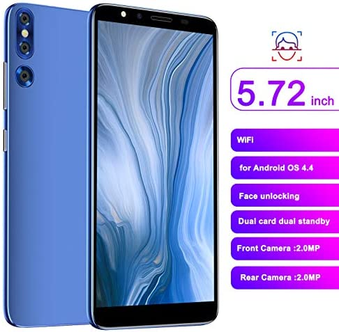Smartphone, 5.72in 512MB+4GB Dual SIM Card 2.0MP 3G for Andriod High Definition Full Ultra‑Thin Cell Phone, Powerful Processor New Unlocked HD Camera Mobile Phone(Blue)
