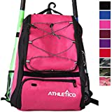 Athletico Baseball Bat Bag - Backpack for Baseball, T-Ball & Softball Equipment & Gear for Youth and Adults   Holds Bat, Helmet, Glove, Shoes   Shoe Compartment & Fence Hook (Magenta)