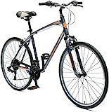 Retrospec Critical Cycles Barron Hybrid Bike 21 Speed, Graphite and Orange, 16in (S)