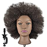 Afro Mannequin Head 100% Human Hair Hairdresser Training Head Manikin Cosmetology Doll Head (Table Clamp Stand Included)