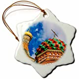 Christmas Ornament Alexis Photography - Moscow Kremlin - Two domes of Moscow St. Basils cathedral, white clouds - Snowflake Porcelain Ornament