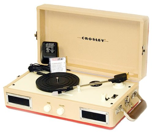 Crosley CR40-RE Mini Turntable with Full-Range Stereo Speakers, Red & Cream
