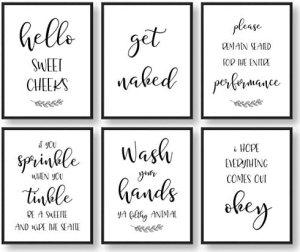 Giftsfarm Bathroom Wall Decor, Bathroom Wall Art, Farmhouse Bathroom Decor, Bathroom Quotes, Signs & Rules Decorations (Set of 6, 8x10in, Unframed)