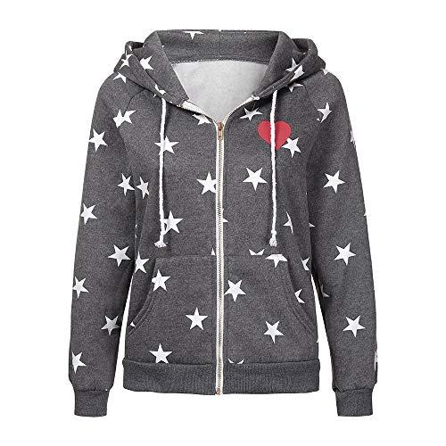 Highpot - Sudadera con Capucha para Mujer, diseño de Estrellas con Cierre, Gris Oscuro, M