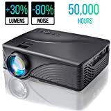 Portable Video Projector 2000 Lumen 1080P 170' Display 50000 Hour HD LED Mini Projector Support HDMI USB AV Phone Laptop TV Computer DVD SD for Home Theater, Gaming, Outdoor Movie