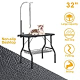 VECELA Pet Dog Grooming Table Small Size Heavy Duty 32' Foldable, Portable with Adjustable Arm Clamp and Mesh Tray