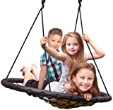 Sorbus Spinner Swing - Kids Indoor/Outdoor Round Web Swing - Great for Tree, Swing Set, Backyard, Playground, Playroom - Accessories Included (40' Net Seat)