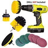 QUIENKITCH 10 Piece Drill Brush Attachments Set, Power Drill Scrub Brush Attachments, Drill Scrub Pads For Grout, Tiles, Sinks, Bathtub, Bathroom, Shower & Kitchen Surface