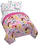Jay Franco Disney Princess Sassy 5 Piece Full Bed Set - Includes Reversible Comforter & Sheet Set - Super Soft Fade Resistant Polyester - (Official Disney Product)