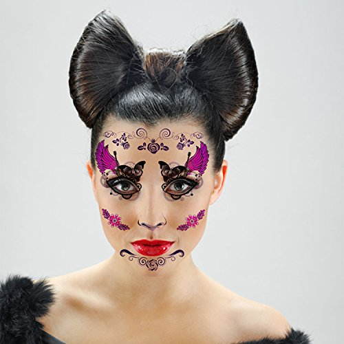 Tattoo Woman Face Mask: Halloween Temporary Face Tattoos