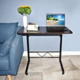 Akway Mobile Laptop Desk Cart 31.5 x 15.7 inch Height Adjustable Rolling Cart Notebook Computer Stand Bed Table for Eating and Laptops, Black