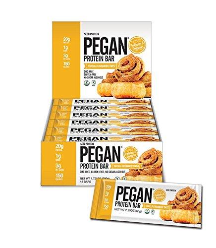 Pegan Protein Bar (Vanilla Cinn Roll) 12 Bars (20g Organic Plant Protein) (3 Net Carbs 1g Sugar) Vegan