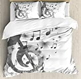 Ambesonne Music Decor Duvet Cover Set Queen Size, Music with G-Clef Key Instrument Monochrome Creative Rhythmic Ornate, Decorative 3 Piece Bedding Set with 2 Pillow Shams
