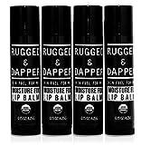 RUGGED & DAPPER – Lip Balm for Men – 4 Pack – Organic & 100% Natural Ingredients, Matte Chapstick Set – Moisturizes with a Shine-Free Finish – Fresh Eucalyptus Mint Flavor