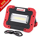 SUNZONE Portable LED COB Work Light,Outdoor Waterproof Flood Lights, for Camping,Hiking,Car Repairing,Workshop,Construction Site,Builtin Rechargeable Battery Power Bank and SOS Emergency Mode (Red)