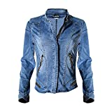 Product review for Dreamskull womens stand collar moto stretch denim jean jacket
