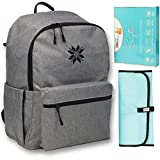 Extra Large Capacity Diaper Bag Backpack for Dad | Best Baby Bag for Boys, Girls, Twins | Diaper Bookbag for Mom and Men - Grey/Teal