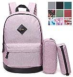 CrossLandy High School Bookbag Waterproof School Backpack Fits 15.6' Laptop, Lavender