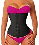 YIANNA Women's Latex Sports Waist Trainer Long Torso Waist Cincher Underbust 3 Hook Rows, Size S (Black)