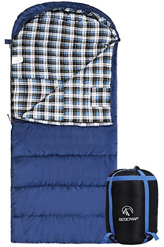 REDCAMP Cotton Flannel Sleeping Bag for Adults, XL 32F Comfortable, Envelope with Compression Sack Blue 2lbs(95'x35')