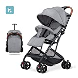 2019 Baby Stroller,Lightweight Compact Travel Stroller - One Hand Fold,Umbrella Stroller,Linen Fabric,Full Recline Up 170° - Baby Can Sit Or Lie Down, Pull Handle, Can Take It On The Airplane (Gray)