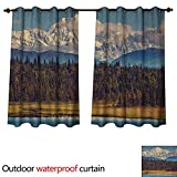 Anshesix Alaska Outdoor Balcony Privacy Curtain Colorful Summer Season in Northwest America Snow White Mountains River Fresh Forest W63 x L63(160cm x 160cm)