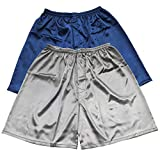 Tony & Candice Men's Satin Boxers Shorts Combo Pack Underwear (Blue + Gray (2-Pack), XXL)