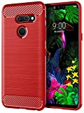 LG G8 ThinQ Case,LG G8 Case, SunRemex Carbon Fiber Shock Resistant Brushed Texture with Anti-Fingerprint and Anti-Slip Design Phone Protective Cover Case for LG G8 ThinQ (Red)